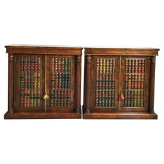 Pair of Doored Cabinets with Leather Book Fronts, England, 1900