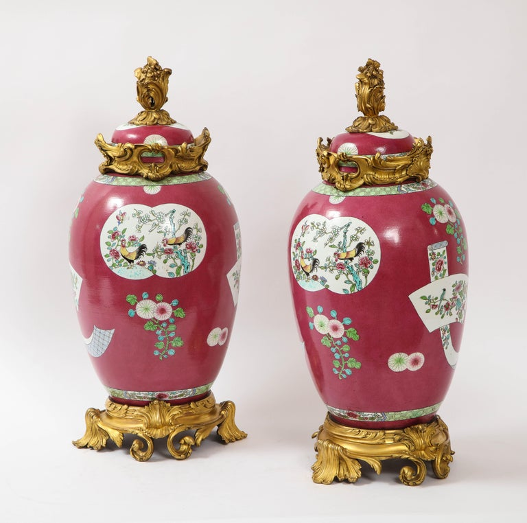 Enameled Pair of Doré Bronze Mounted Chinese Porcelain Rooster Red Ground Covered Jars For Sale