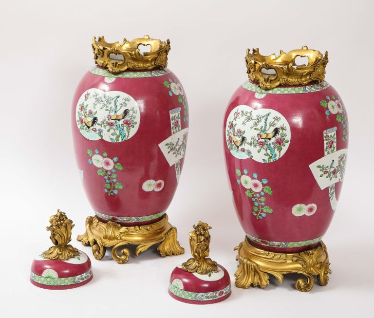 Pair of Doré Bronze Mounted Chinese Porcelain Rooster Red Ground Covered Jars For Sale 1