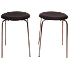 Pair of Dot Stools Upholstered with Black Leather by Arne Jacobsen, 1971