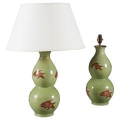Pair of Double Gourd Goldish Celadon Glaze Vases as Table Lamps