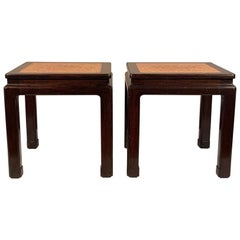 A Pair of Dunbar Occasional Tables Asian Style with Cork Tops