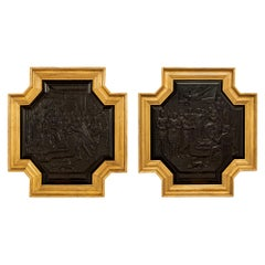 Pair of Dutch 17th Century Ebony and Giltwood Carved Panels