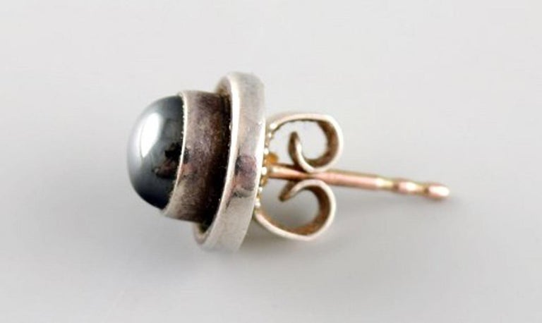 Modern Pair of Ear Studs in Sterling Silver by Georg Jensen For Sale