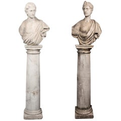 Pair of Early 19th Century Female Busts on Columnar Plinths