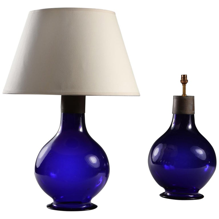 Pair of Early 20th Century Imperial Blue Glass Table Lamps For Sale