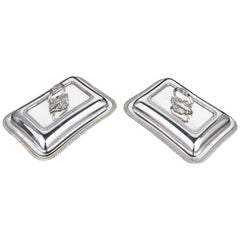 Pair of Early 20th Century Rectangular Silver Plated Entrée Dishes