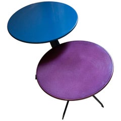 Pair of Early Prototype Made a Mano Lava Stone Side Tables