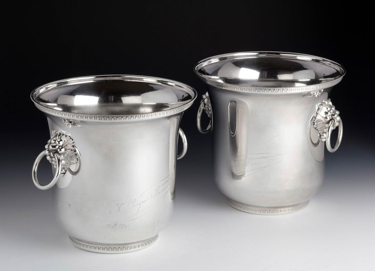English Pair of Early Twentieth Century, French Silver Plated Champagne Coolers For Sale