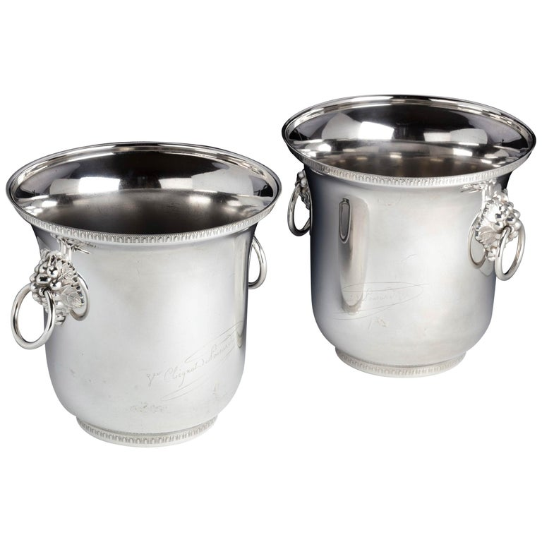 Pair of Early Twentieth Century, French Silver Plated Champagne Coolers For Sale