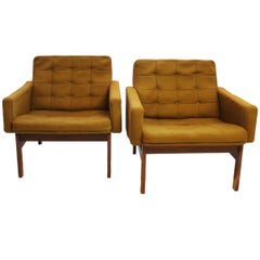 Pair of Easy Chairs in Dark Green Fabric and Rosewood by France and Son