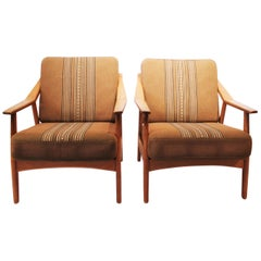 Pair of Easy Chairs in Oak by H. Brockmann Pedersen, 1960s