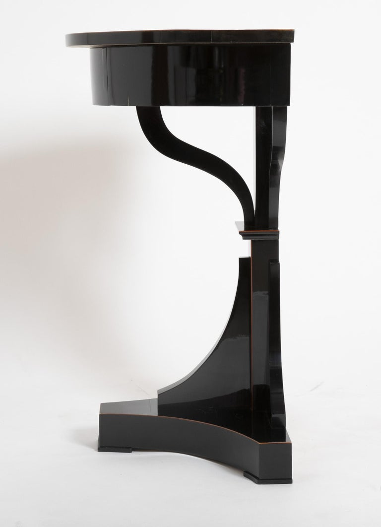 Pair of Ebonized Biedermeier Demilune Stands For Sale 3