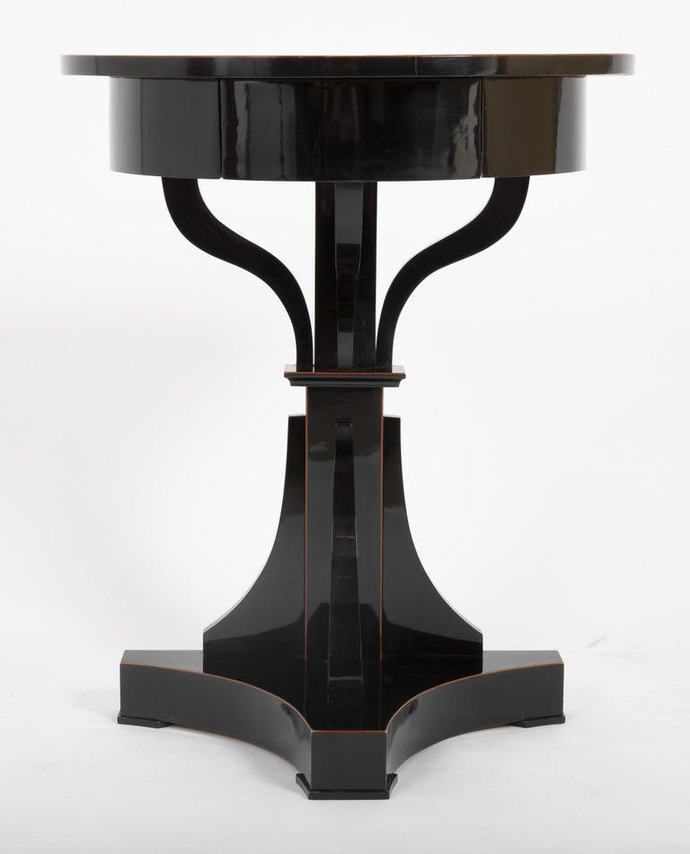 Lacquered Pair of Ebonized Biedermeier Demilune Stands For Sale