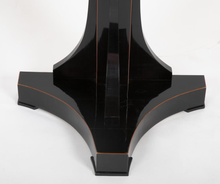 Pair of Ebonized Biedermeier Demilune Stands In Good Condition For Sale In Stamford, CT