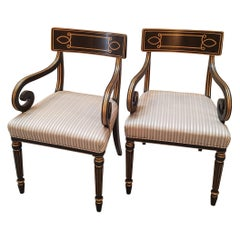 Pair of Ebonized Neoclassical Scrolled Armchairs