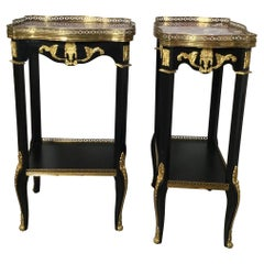 Pair of Ebonized Wood and Marble Diminutive Side Tables
