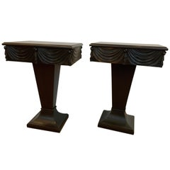 Mid Century Pair of Ebonized Wood Drapery Motif Side Tables With Drawer