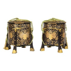 Pair of Edo Period Black and Gold Lacquer Samurai Helmet Boxes