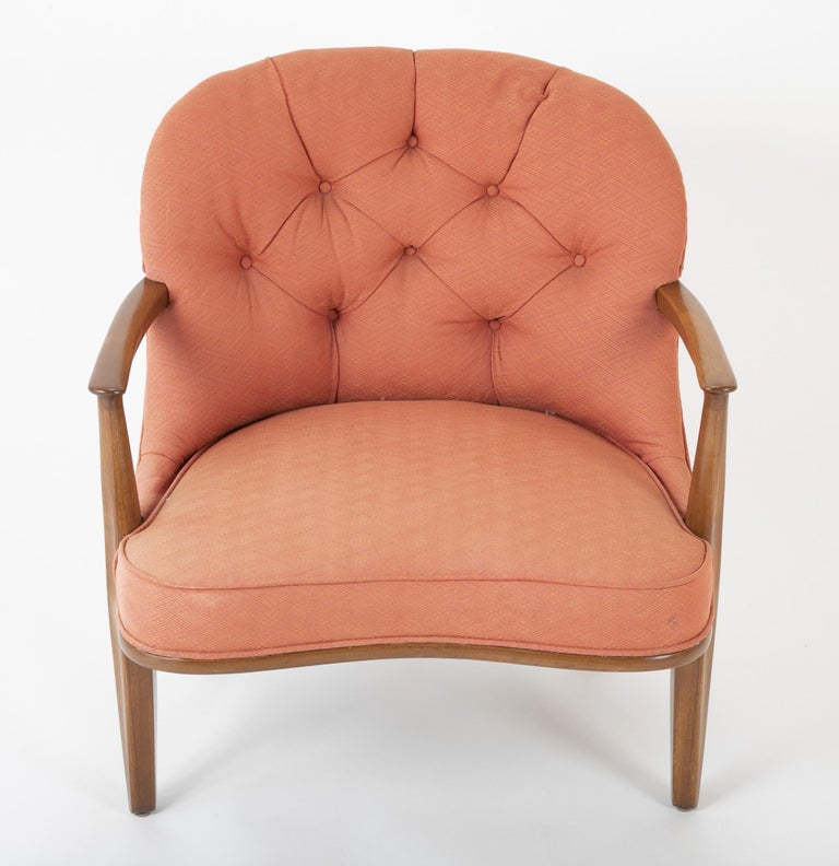 Mid-Century Modern Pair of Edward Wormley Walnut Armchairs for The Janus Collection of Dunbar