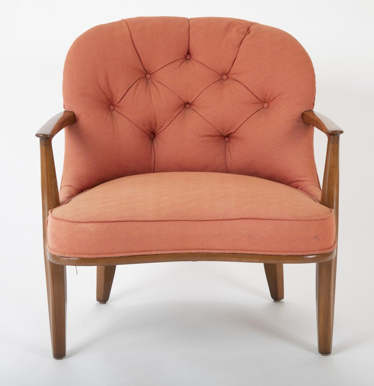 American Pair of Edward Wormley Walnut Armchairs for The Janus Collection of Dunbar