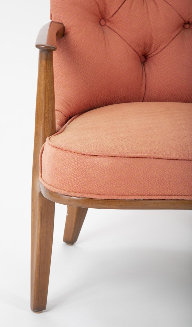 Pair of Edward Wormley Walnut Armchairs for The Janus Collection of Dunbar In Good Condition In Stamford, CT