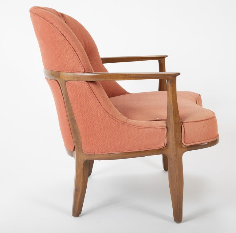 Mid-20th Century Pair of Edward Wormley Walnut Armchairs for The Janus Collection of Dunbar
