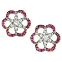 Pair of Edwardian Diamond and Ruby Earrings