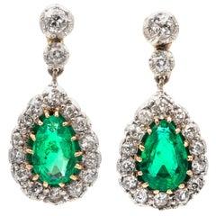 Pair of Edwardian Emerald and Diamond Drop Earrings