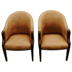 Pair of Edwardian Library Chairs in a Pale Tan Leather with Brass Stud Border