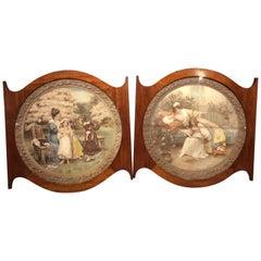 Pair of Edwardian Period Mahogany Framed Prints