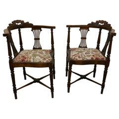 Pair of Edwardian Walnut Corner Arm Chairs
