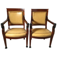 Pair of Egyptian Revival Mahogany and Leather Armchairs