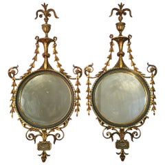 Pair of Elegant Adam Style Round Mirrors