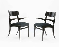 A Pair of Elegant and Classic Italian Klismos Arm Chairs After Robsjohn-Gibbings