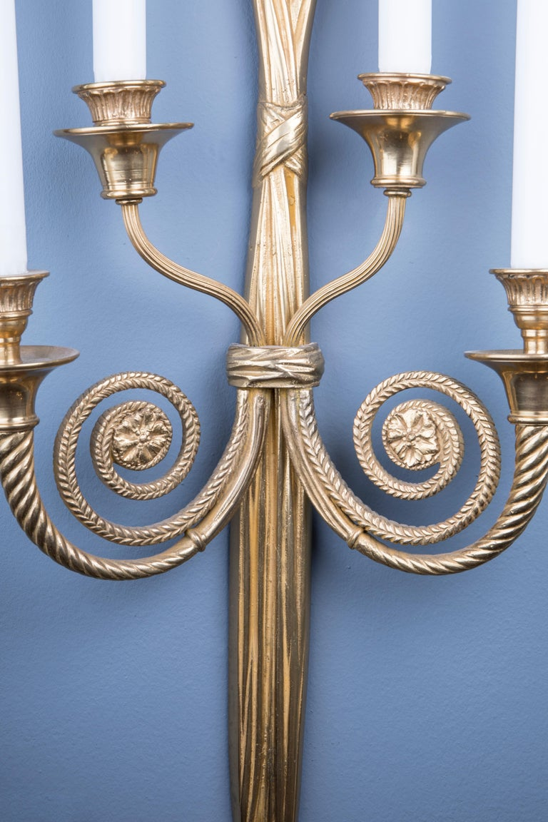 French Pair of Elegant Bronze Candle Holding Wall Lights For Sale