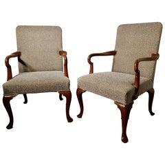 Pair of Elegant Edwardian Tweed Upholstered Fireside Chairs