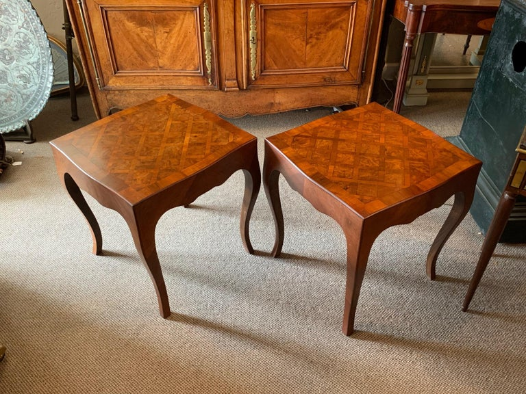 Pair of Elegant Italian Tables with Cabriolet Legs For Sale 4
