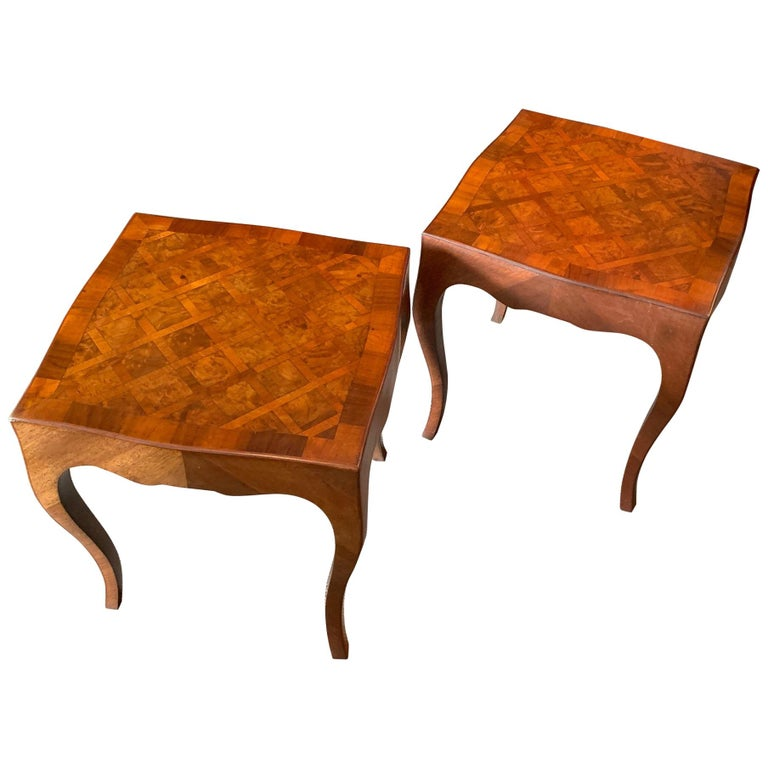 Pair of Elegant Italian Tables with Cabriolet Legs For Sale