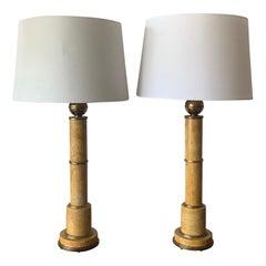 Pair of Elegant Marble Column Lamps, circa 1950s