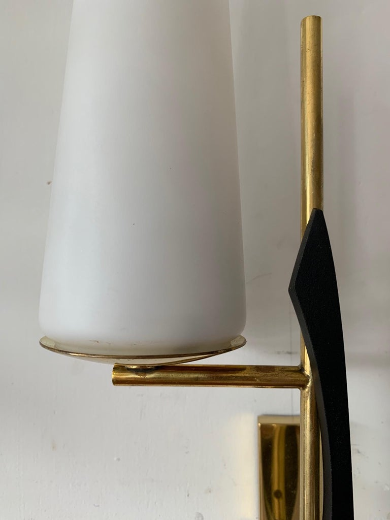 French Pair of Elegant Wall Sconces by Arlus For Sale