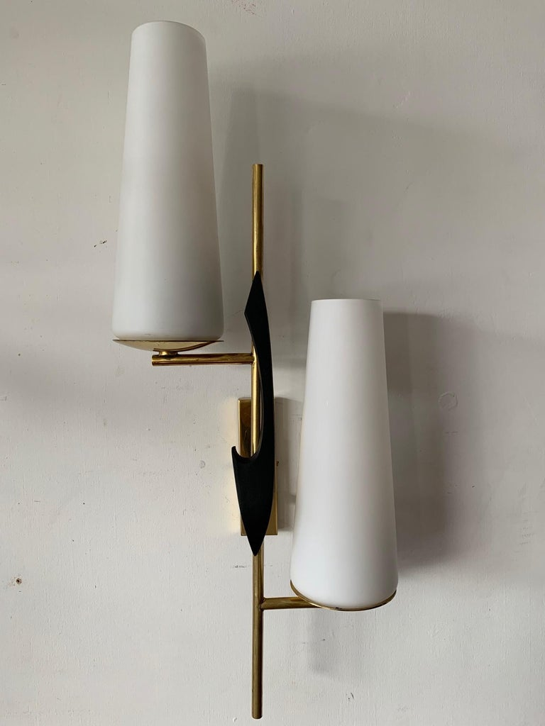 Pair of Elegant Wall Sconces by Arlus In Good Condition For Sale In St.Petersburg, FL
