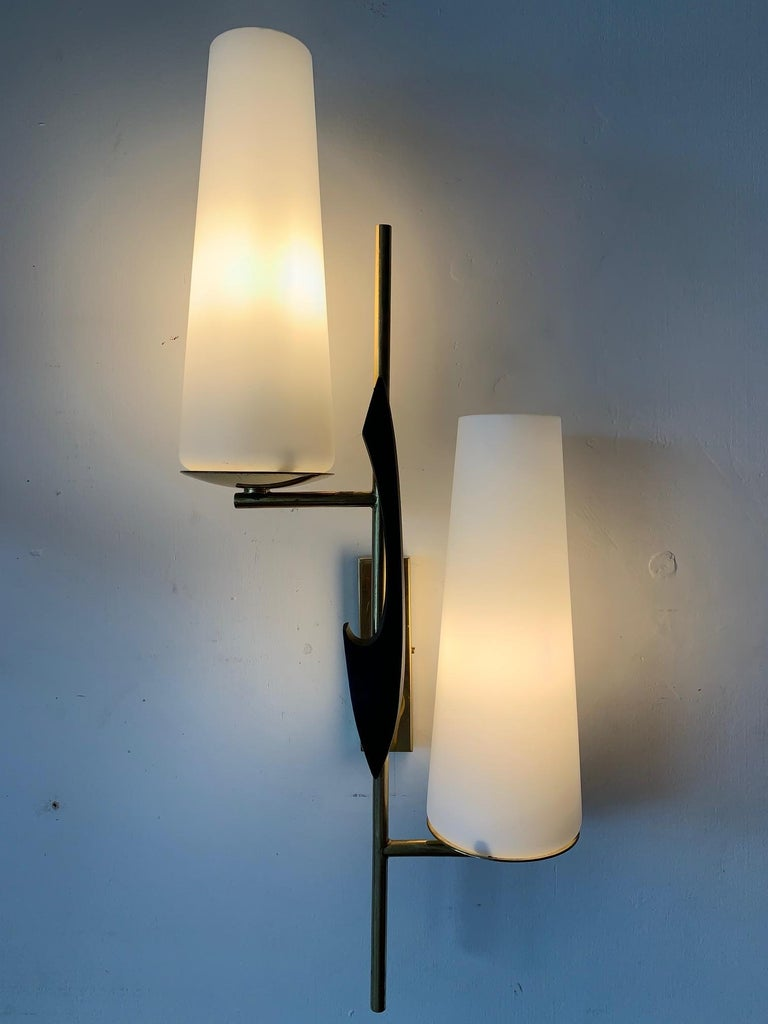 Pair of Elegant Wall Sconces by Arlus For Sale 1