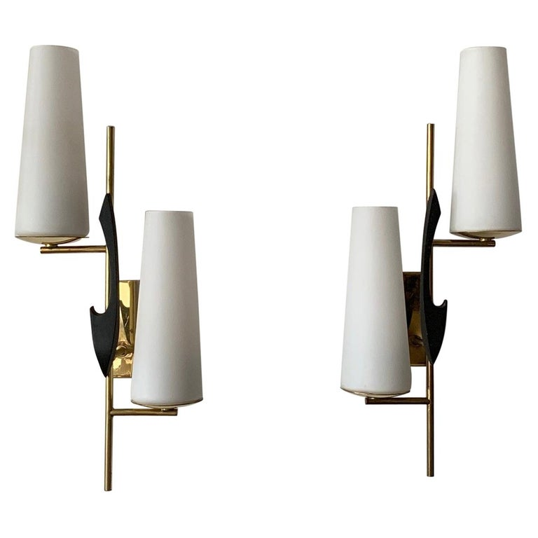 Pair of Elegant Wall Sconces by Arlus For Sale