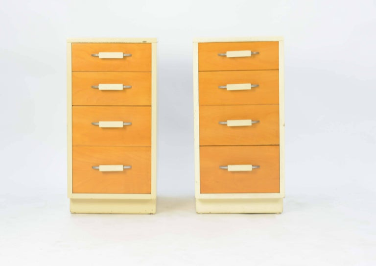 A pair of Eliel Saarinen and Pipsan Saarinen Swanson's nightstands for Johnson Furniture Company. These Classic design pieces are wonderful in their size and scale for any bedroom.
