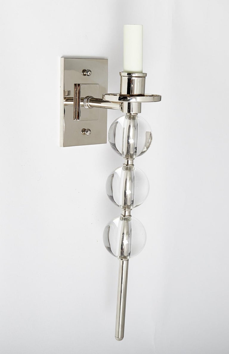 American Pair of Elongated Ephorus Sconces by David Duncan in Nickel, Glass Balls, New For Sale