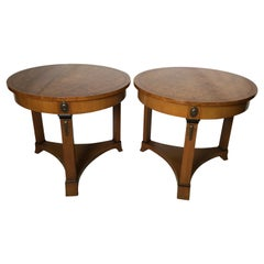 Pair of Empire Style Round Side End Tables