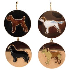 Pair of Enamel and Gold Dog Earrings