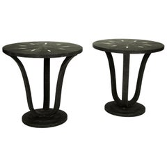 Pair of English Black Shagreen Side Tables, Sold Individually