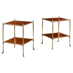 Pair of English Brass and Mahogany Two Tier Etageres